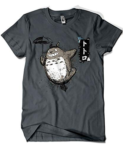 1087-Camiseta Softstyle Totoro - Flying with my Neighbor (Gris Oscuro, L.)