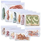 SPLF 12 Pack Dishwasher Safe Reusable Storage Bags (5 Sandwich Bags, 5 Snack Bags, 2 Gallon Bags), BPA Free Freezer Safe Leakproof Silicone and Plastic Free Lunch Bags Food Storage