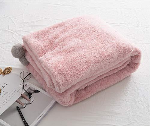 ADGAI Fleece deken gooit met pompoms Travel Size - Super zachte pluizige bed gooit dekens warme deken voor bank Kerstmis gooit Ivoor deken sprei