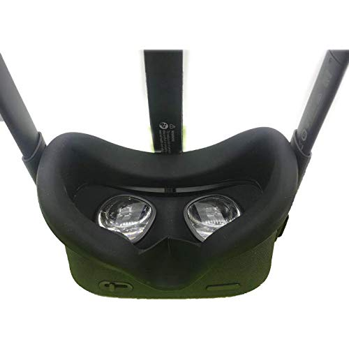 Affordable Oculus Quest's VR Silicone Eye mask is Black, Portable, Sweat-Proof, and Lightweight.