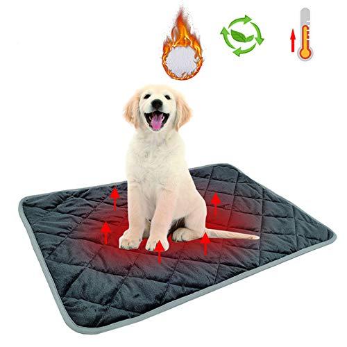 Rubyu Haustier Heizkissen Heizmatte, Selbstheizende Decke für Katzen und Hunde Selbstheizend, Waschbar, Weiche Wolldecke, Innenwärmematte mit automatischer Abschaltung
