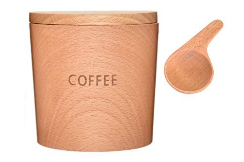 籐芸 TOUGEI 木のキャニスター (コーヒー 珈琲) 250ml メジャースプーン 5g 木製保存容器 2点セット