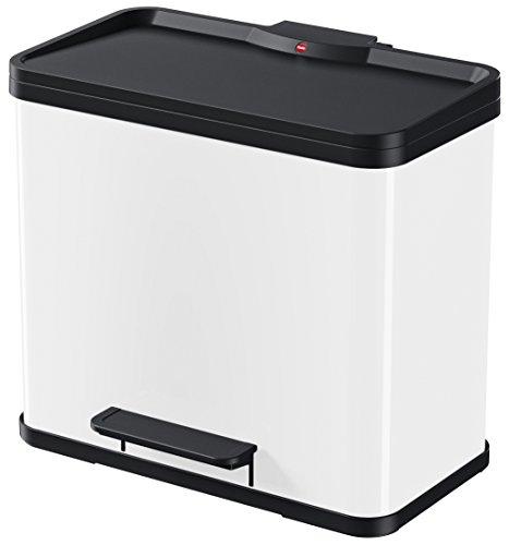 Hailo 0611-030 Eco Duo L Mülltrenner, 2x14 Liter, 2 einzeln herausnehmbare Inneneimer, Deckeldämpfung (Soft Close)