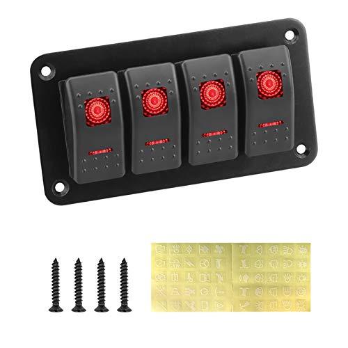 BRIGHTSUN XXshop 12 / 24V 6 LED Rocker Switch Switch PAND Gang ON-Off Interruptor de Doble luz Impermeable para la Caravana Marina RV Toggle Switch Panel (Color : 4 Gang)