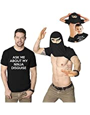 Ask Me about My Ninja Disguise Flip T- Shirts, Humor Costumes for Men's and Boys
