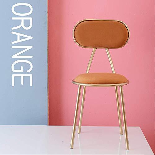 XME Hocker Tisch Und Stuhl Kombination Empfang Stuhl Eisen Casual Make-up Stuhl Gelbbrauner Samt und Goldeisenrahmen