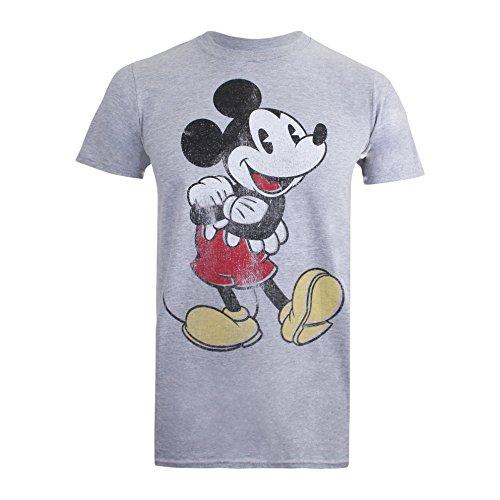 Disney Vintage Mickey Camiseta, Gris, M para Hombre