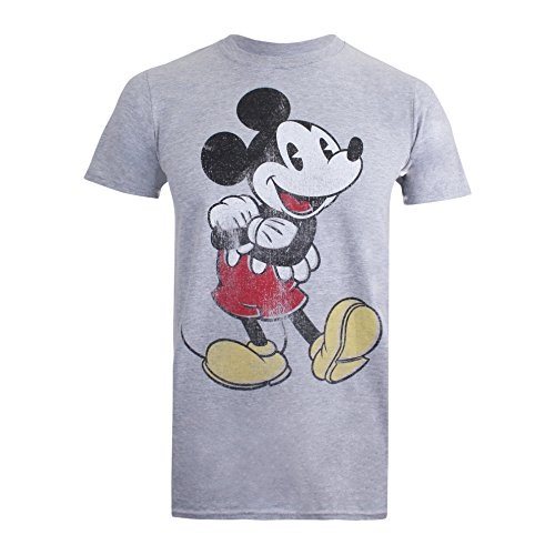 Disney Herren Vintage Mickey T-Shirt, Grau (Sports Grey), M