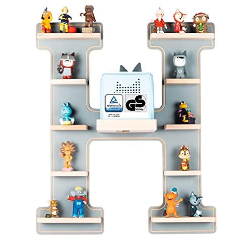 BOARTI das Original Kinder Regal Buchstabe H in Grau TÜV/ GS-Zertifiziert - geeignet für die Toniebox und ca. 48 Tonies - zum Spielen und Sammeln
