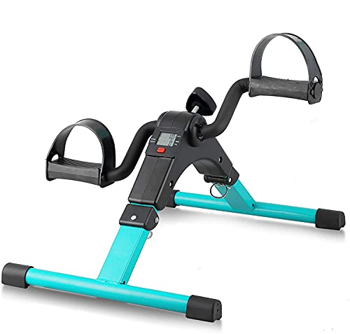 Mini Bicicleta Estática Plegable, Pedales Estaticos con LCD Pantalla, Pedaleador Plegable, Máquinas de Brazos y Piernas Entrenamiento Resistencia Ajustable para Hacer Ejercicio en Casa(Verde)