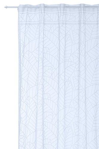 Haus und Deko Dekoschal Daria mit Stangendurchzug grobmaschig 140x235 cm transparent Blatt Muster Voile Gardine weiß