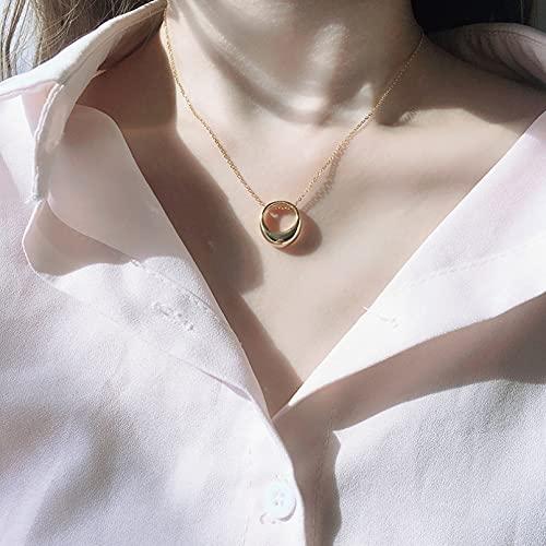 N/A Collar Retro Estilo De Lujo Ligero Círculo Colgante Cadena De Clavícula Collar De Anillo Hueco Agente Femenino Collares Hombre Collares Mujer Collares De La Amistad para Collar Pareja