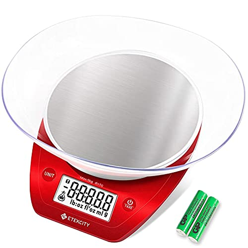 Etekcity 0.1g Food Kitchen Scale Bowl, Digital Grams and Ounces for Weight Loss, Baking, Cooking and Keto, 11lb, Red Stainless Steel