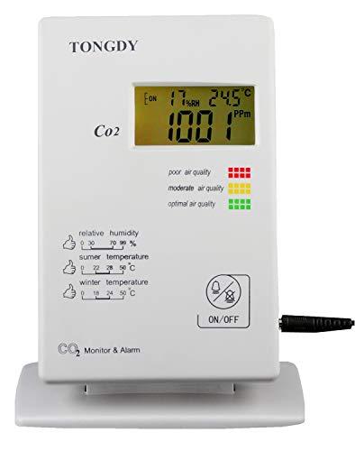 Dhmm123 Digital Kohlendioxid-Monitor und Alarm CO2 + Temperatur- und Feuchtigkeitserkennung und -überwachung Spezifisch