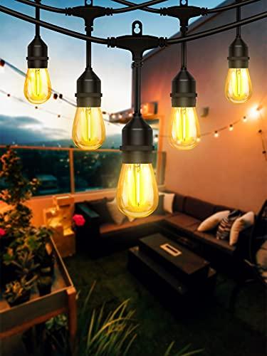 Luci da Esterno, Lijun 15M Catena Luminosa Esterno S14 Luci da Giardino con 15 + 2 Lampadine a LED Luci Decorative per Giardino, Festa