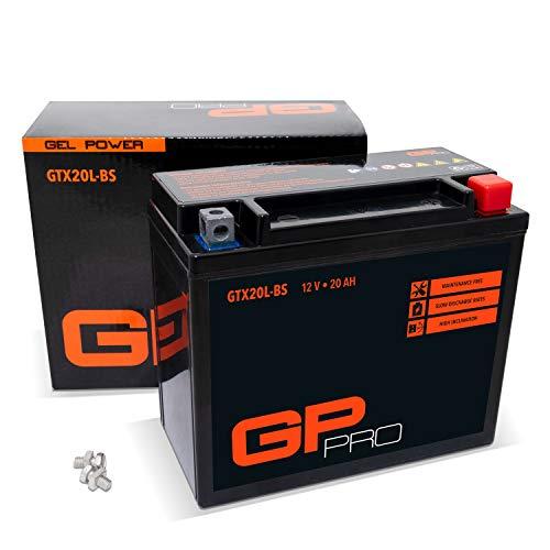 GP-PRO GTX20L-BS 12V 20Ah GEL Batería de arranque (compatible con YTX20L-BS / YTX20HL-BS) (Sin necesidad de mantenimiento/Sellado) Moto Acumulador ⭐