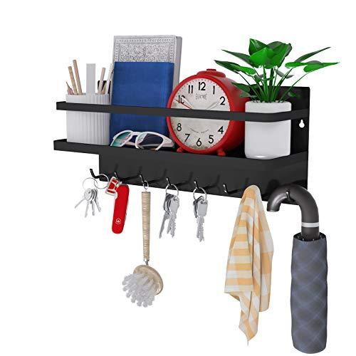 8 ganchos magnéticos para llaves, ganchos magnéticos con bandeja, ganchos para abrigos, estante magnético para llaves, letras,...