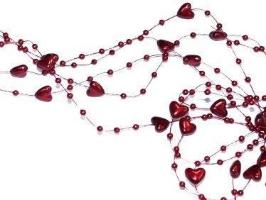 SiDeSo® Herzengirlande 5 Stück á 1,3m viele Farben Tischdeko Hochzeit (Bordeaux rot)