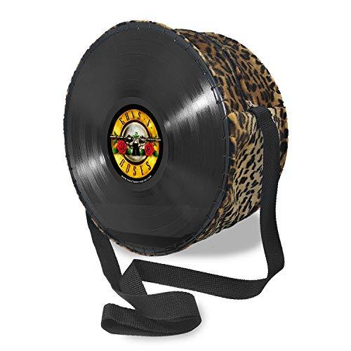 Mancha de Creación - Bolso hecho con discos de vinilo LP, tela leopardo y diseño Guns and roses, bolso bandolera redondo de hombro para mujer, asa regulable, retro, vintage, casual