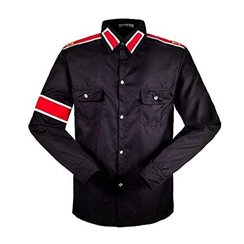 Herren Kinder Shirt MJ Professional Cosplay Michael Jackson Kostüm CTE Style Shirt für MJ Fans Weiß Schwarz ROT Farben Hemd (M, Schwarz)