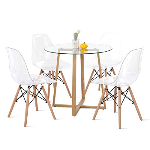 DORAFAIR Pack de 4 Sillas Transparentes & Mesa Redonda de Cocina, Juego de sillas de Comedor Moderna Nórdica Patas de Hierro