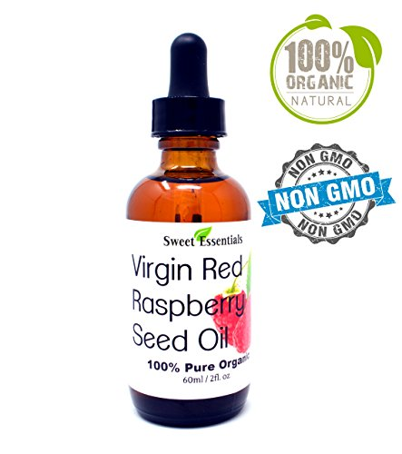 100% Organic Red Raspberry Seed Oil | Imported From Chile | 100% Pure | Cold-Pressed | Natural Moisturizer for Skin, Hair and Face | By Sweet Essentials (2oz Glass Bottle With Glass Dropper)