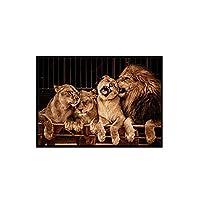 ライオンの家族のポスターアフリカの動物の壁の芸術アフリカのライオンのキャンバスの絵画インテリア家の居間の寝室の壁の装飾の絵80x120cmx1フレームなし