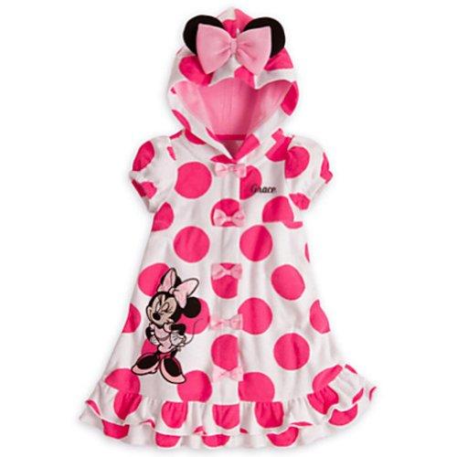 Disney Minnie Mouse Maillot de bain à capuche Cover-Up avec oreilles pour filles (3T)