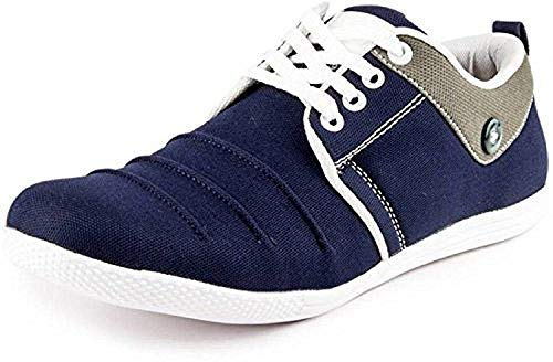 Venetien Casual Blue Button Canvas lace up Comfortable Shoes for Men   Size:- UK-10