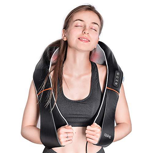 RENPHO Masajeador de Cuello y Hombros, Masajeador Cervical, Masajeador de Espalda con Calor, con 3D Rotación y Función de Calor, 3 Velocidades Shiatsu Eléctrico Alivia Los Músculos, Casa Oficina Coche
