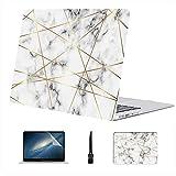 Compatible con Macbook Air 11'13' Pro 15'16' Funda rígida de plástico con Textura geométrica de mármol Blanco para Macbook Air Funda Protectora Accesorios con Alfombrilla de ratón