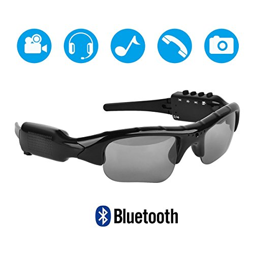 5M Pixels Bluetooth Sunglasses with Camera 1080P Support Micro SD Card Expandable to 32GB with MP3 + Bluetooth + Camera + Video Functions
