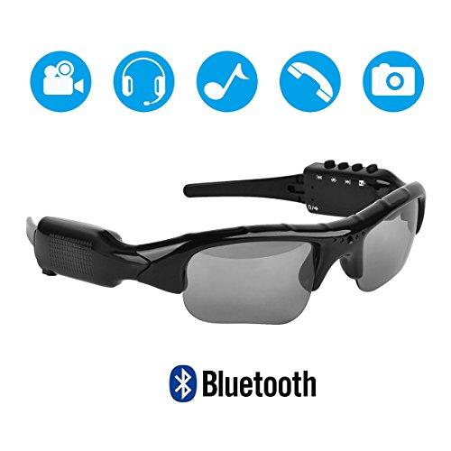 Hereta Gafas de sol con cámara Bluetooth de 5 m de píxeles, compatible con tarjeta micro SD extensible a 32 GB con MP3 + Bluetooth + cámara + funciones de vídeo