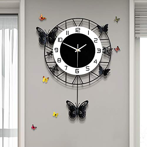 Fleble Modern Metal Pendulum Wall Clock Movement Non Ticking Silent Fashion Black Butterfly Design Clocks Home Decor Suitable for Living Room Bedroom Kitchen Office