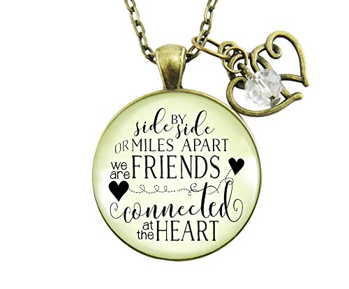 """Gutsy Goodness 24"""" Best Friends Necklace Side by Side Long Distance Quote Gift"""