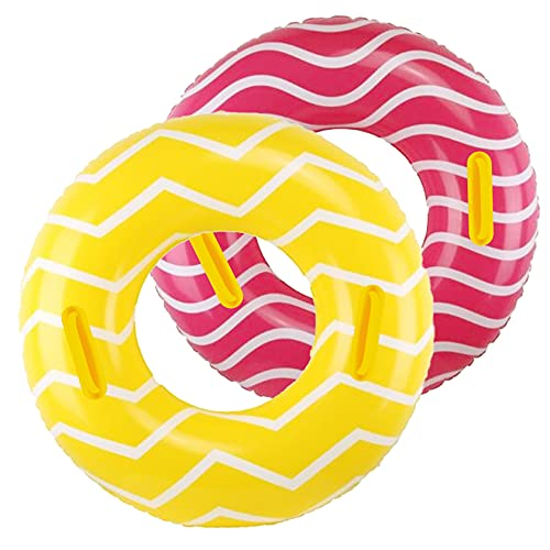 """2 Pack Inflatable Pool Tubes with Handles, 39"""" Inner Tubes for Floating for Adults, Yellow Pool Floaties for Adult, Beach Swimming Ring and Party Toys for Kids Children Teens Adults"""