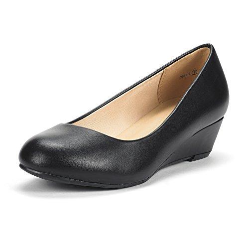 DREAM PAIRS Women's Debbie Black Pu Mid Wedge Heel Pump Shoes - 8 M US
