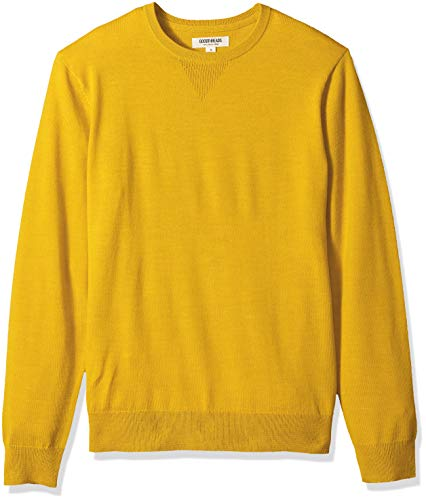 Amazon Brand - Goodthreads Men's Lightweight Merino Wool Crewneck Sweater, Yellow, X-Large