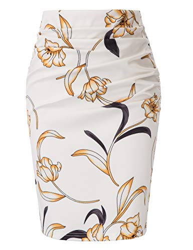 GRACE KARIN Women Elegant Ruched Work Business Party Pencil Skirt Size M,Floral-2