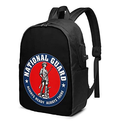Hdadwy Mochila USB de la Guardia Nacional del Ejército de los Estados Unidos Bolsas de Mano de 17 Pulgadas Mochila para computadora portátil para Viajes, escuelas, Negocios