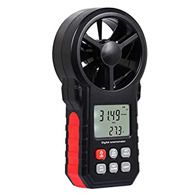Digital Vane Anemometer Handheld Wind Speed Temperature Meter Air Velocity Wind Chill Tester Gauge with MAX/MIN/AVG/Current Measurement Backlight