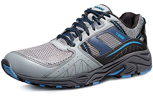 TSLA Men's Outdoor Sneakers Trail Running Shoe, All Around(t330) - Light Grey & Blue, 11