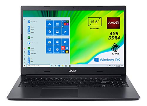 Acer Aspire 3 A315-23-A7DY Pc Portatile, Notebook con Processore AMD 3020e, Ram 4 GB DDR4, 128 GB PCIe NVMe SSD, Display 15.6  FHD LED LCD, AMD Radeon, Windows 10 Home in S mode, Nero