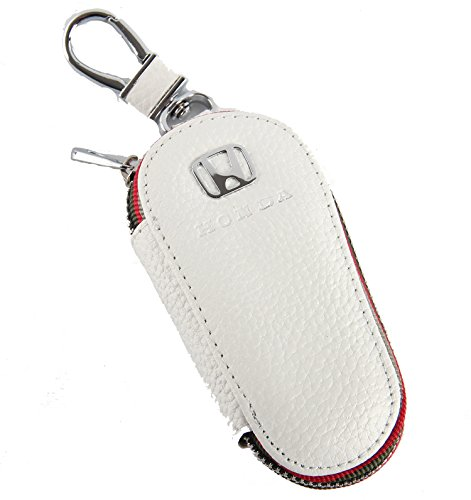 Key chain Bag white Lychee rind pattern Genuine Leather Ring Holder Case Car Auto Coin Universal Remote Smart Key cover Fob Alarm Security Zipper keychain Wallet Bag (Honda)