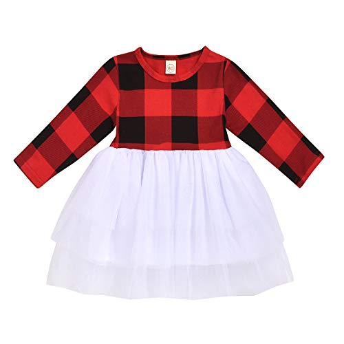 Infant Baby Girls Christmas Dress Merry Christmas Red Plaid Tulle Lace Tutu Princess Dresses Xmas Outfit (3-4 Years, Plaid A)
