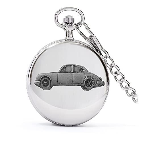 Classic British Car Mk2 3.8 ref104 - Reloj de bolsillo de cuarzo con diseño de efecto peltre en caja de plata pulida para hombre