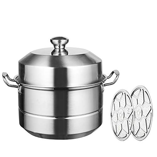 Roestvrij stalen Steamer Pot,Dikke Roestvrij Staal Steamer Polycarbonaat Bodem Warmtegeleiding 3 Lagen Inductie Cooker Gaskachels en Andere kachels Modern design 36cm Kleur