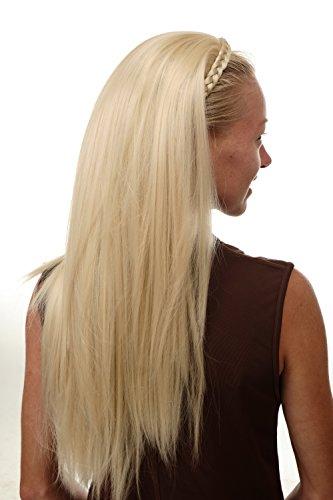 WIG ME UP - TYW60875H-613 Mi-perruque extension noble avec serre-tête tressé très longue lisse blond platine