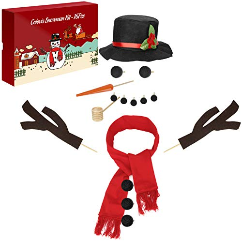 Colovis 16Pcs Snowman Decorating Kit, Snowman Making Kit Winter Party Kids Toys Christmas Holiday Decoration Gift