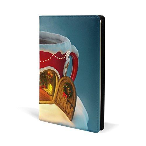 COOSUN Kerstmis Thee Cup Lederen Boek Cover Boek Sox Fit Meest Hardcover Handboeken 5.8